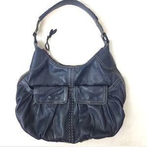 Cole Haan Handbag Pebble Leather Blue Shoulder Bag
